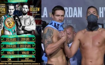 Oleksandr Usyk and Tony Bellew at weigh-in.
